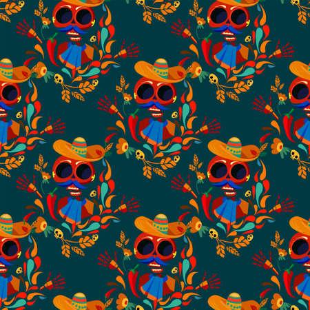 Day of the Dead pattern seamless Vector Illustration. skull. 矢量图像