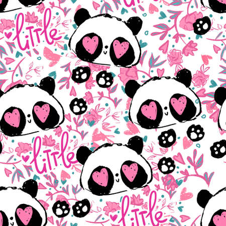 Cute panda and heart on a pink background illustration vector. bear baby seamless, Textile pattern. Vettoriali