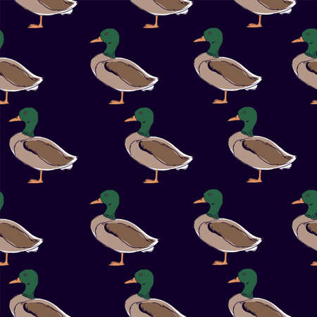 Duck pattern seamless. Vector illustration. Print design for textiles.