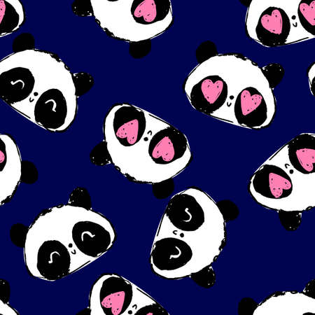 Cute panda background illustration vector. bear baby seamless, Textile pattern.