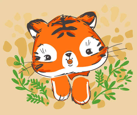 Sketch cute tiger. Vector. Childish print. Print design