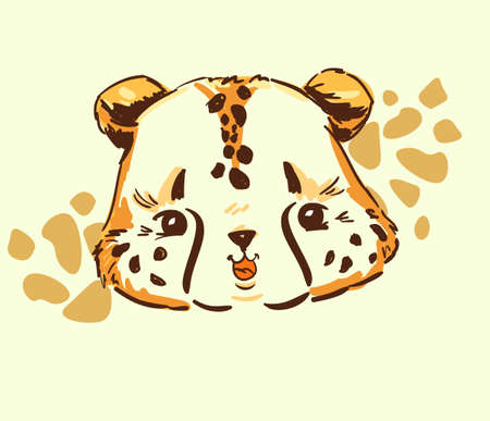 Sketch cute cheetah isolated on white background. Cartoon character childish for children, textiles, banner. Vector stock. Wildcat.