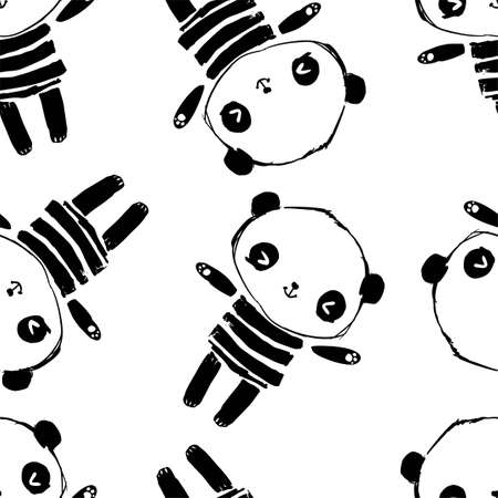 Hand drawn cute panda bear seamless for textile. Pattern vector. Childish design print for nursery, poster, textiles.