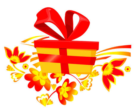 Gift box with a red bow and floral ornament. Chinese New Year greeting card. Holiday card design. Decorative ortnament flowers.