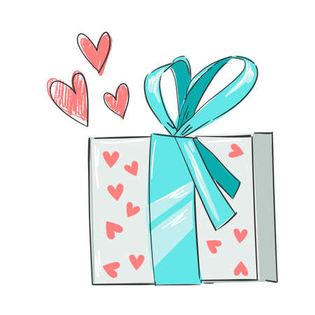 Vector gift bow valentines day. Sketch a heart. design elements for greeting card. Illustration