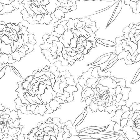 Hand drawn peonies. Background pattern of flowers. Seamless. Design print for textiles Ilustrace