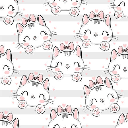 Cat with a bow on a background of stripes pattern. Vector Illustration print design cat, children print on t-shirt, seamless.