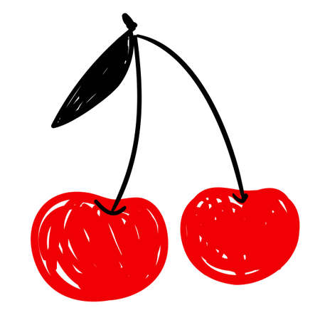 Sketch cherry isolated on a white background. Hand drawn berry element for design. vector illustration.