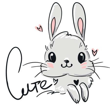 Cute drawing Bunny. Fluffy rabbit. Vector illustration stock.