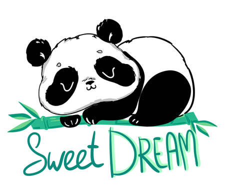 Cute Panda sitting on the bamboo. Handwritten - Sweet dream. illustration.