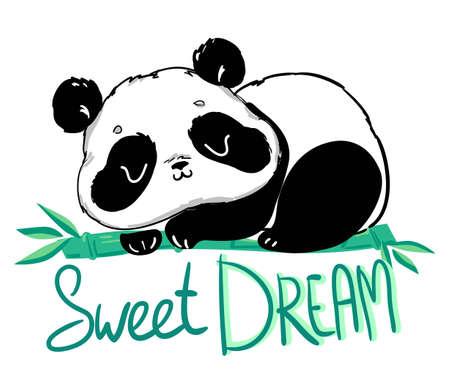 Panda mignon assis sur le bambou. Manuscrit - Doux rêve. illustration.