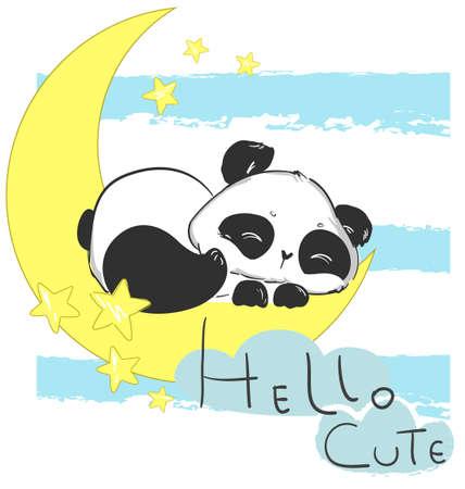 Hand drawn Cute Panda Bear Sleeping on the Moon. Childrens print for pajamas. Childish fairytale illustration. Vector. Vecteurs