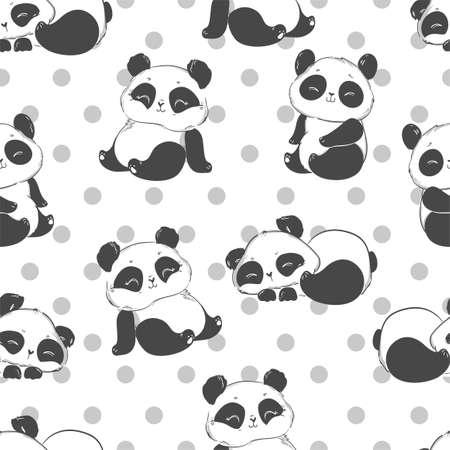 Cute panda illustration vector. Panda baby seamless, Textile design pattern