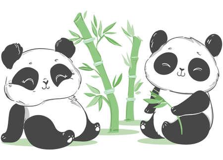 Cute panda and bamboo illustration. Cartoon character. Vector Vecteurs