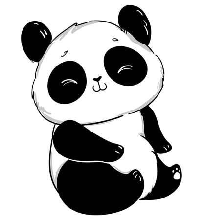 Cute Panda Vector illustration. Children print on t-shirt.