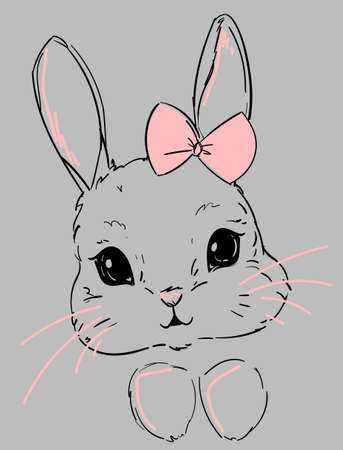 Cute Bunny. Sketch rabbit on a gray background with a pink heart. Print design for t-shirts, poster, banner, postcard. Childish illustration.