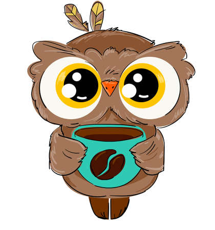 Hand drawn cute owl with a coffee mug isolated on a white background childish illustration. bird. Coffee bean print.