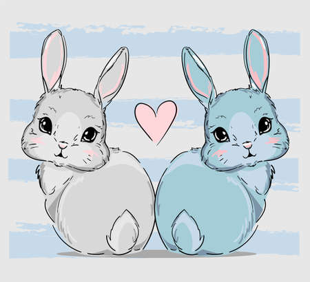 Hand Drawn Bunny couple, print design rabbits and pink heart, children print on t-shirt.