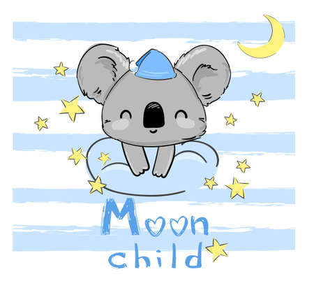 ute Koala sitting on a cloud and stars. Vector illustration. Print for home clothes, pajamas, a nightdress, textiles. Childish design.