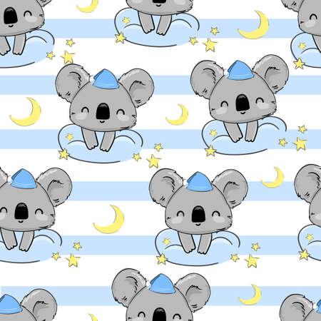 Cute Koala sleeps on the Moon pattern seamless Vector illustration. Print for home clothes, pajamas, a nightdress, textiles. Childish design. Ilustração