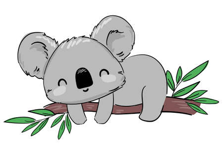 Koala on the tree branch. Hand drawn cute childish illustration. Print design. Vector.