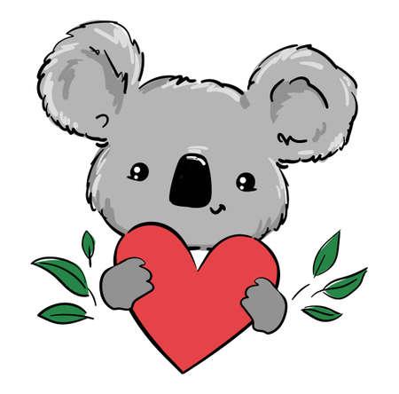 Cute koala and heart beautiful childish print. Hand Drawn Animal Vector.