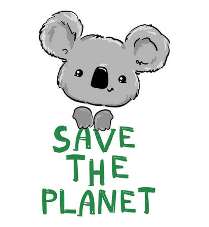 Koala Beautiful Cute childish illustration. vector. Save the Planet