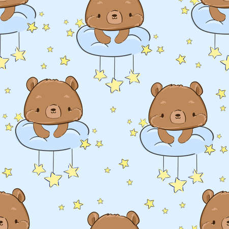 Cute Teddy Bear sitting on a cloud and stars Pattern Seamless. Vector. Print for pajamas Textile Design for Children