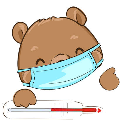 Hand drawn cute bear wearing a mask with a thermometer. Stop coronavirus. (COVID-19) Pandemic medical illustration. Nameplate, banner attention!