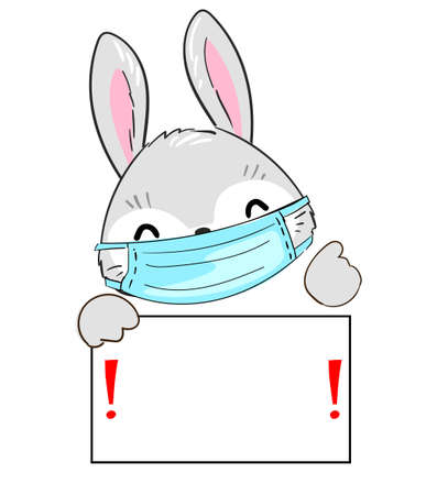 Hand drawn cute Bunny wearing a mask. Illustration, poster for children's hospital, medicine. Stop coronavirus. (COVID-19) Pandemic medical illustration. Nameplate, banner attention! vector