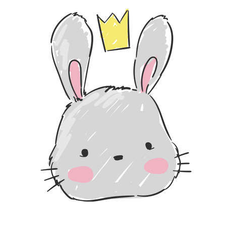 Hand drawn cute gray bunny. Rabbit in a crown Isolated on a white background. Childish print design for newborns, textiles, baby prints. Vector