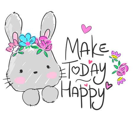 Hand drawn cute rabbit with flowers isolated on white background. Sketch rabbit childish illustration. Vector Ilustração