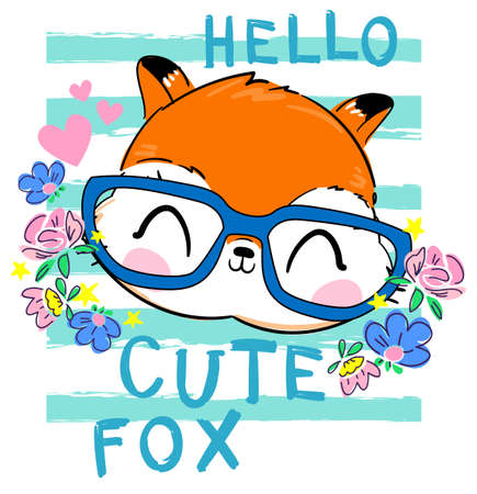 Fox in glasses with flowers. Print design for kidswear, fashion. Vector illustration