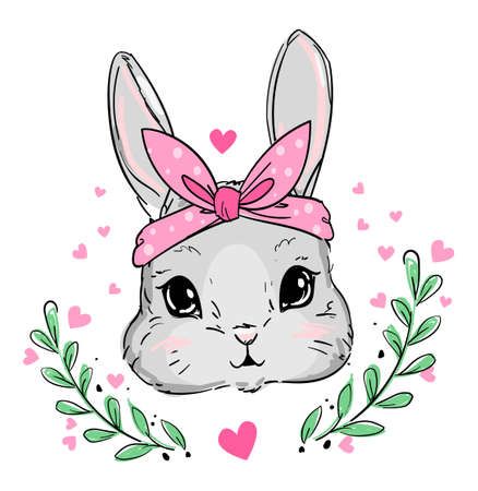 Hand Drawn Vector Cute Bunny, Rabbit with pink bow cute illustration. Print for childrens t-shirts. Imagens - 148275069