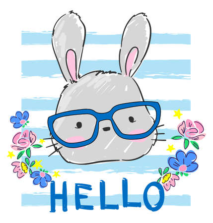Hand drawn cute rabbit with glasses isolated on white background. Sketch rabbit childish illustration. Vector