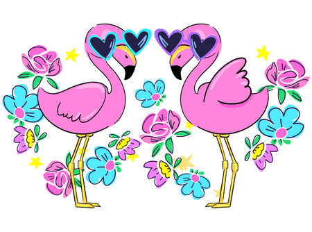 pair of pink flamingos with glasses and flowers.Design print. vector Ilustracja