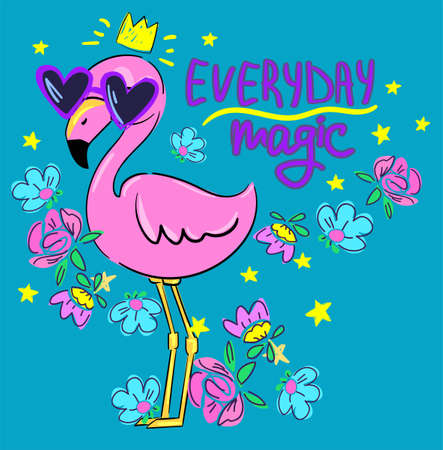 Pink flamingo with glasses and flowers. Design print. Vector. Everyday magic. Ilustrace