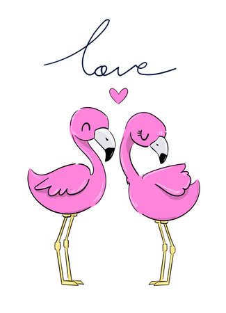 Valentine's day greeting card. A pair of pink flamingos with heart isolated on white background. Vector