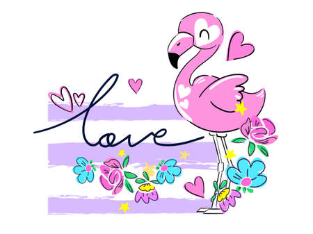 Hand Drawn Pink flamingo and flowers. Greeting card for Valentine's Day. Print for textiles, t-shirts, fashion. Vector illustration.