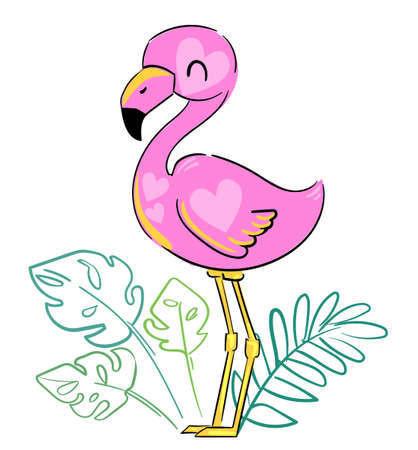 Hand Drawn Cute Flamingo. Vector. Summer Print Design, children print on t-shirt Vettoriali