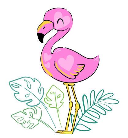 Hand Drawn Cute Flamingo. Vector. Summer Print Design, children print on t-shirt Vecteurs