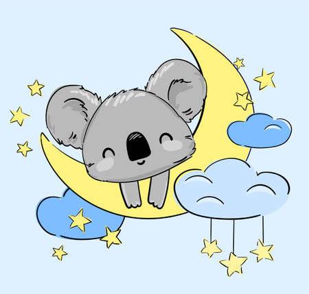Cute Koala sleeps on the Moon Vector. Print for home clothes, pajamas, a nightdress, textiles. Childish design. Ilustração