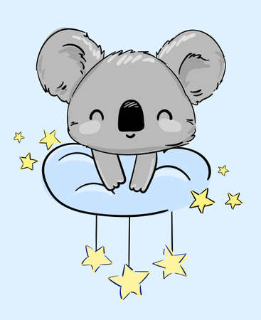 ute Koala sitting on a cloud and stars. Vector. Print for home clothes, pajamas, a nightdress, textiles. Childish design.