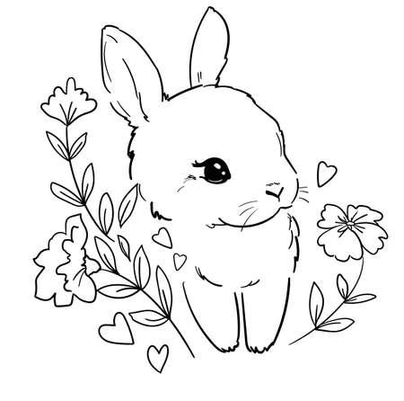 Cute Bunny. Print for childrens textiles, poster design, nursery. Rabbit. Vector illustration stock. Children coloring