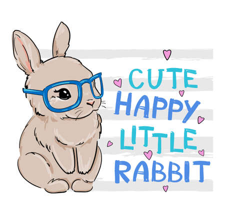 Hand Drawn Bunny with Glasses. Cute rabbit and bow. Childish print design for nursery, t-shirt, textile, background. Vettoriali