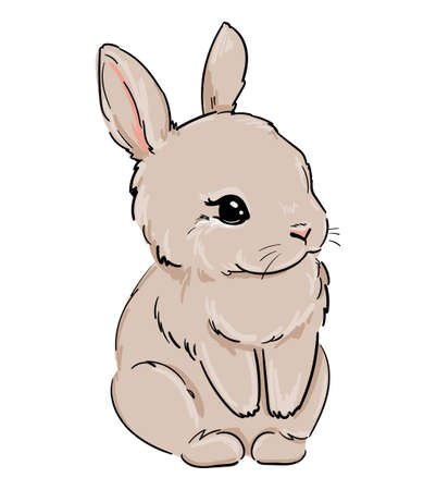 Rabbit. Hand drawn cute bunny. Vector illustration. Childish print design for nursery, t-shirt, textile, background.