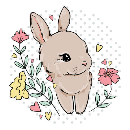 Cute Bunny with flowers. Print for childrens textiles, poster design, nursery. Rabbit. Vector illustration stock.