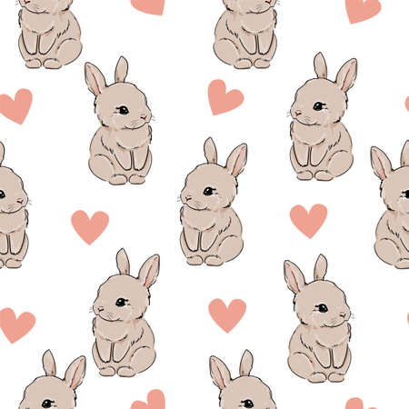 Seamless pattern Rabbit and Heart. Hand Drawn Cute Bunny Pattern, print design background, children print textile design. Vector