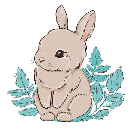 Cute bunny and leaves. Vector illustration. Childish print design for nursery, t-shirt, textile, background.