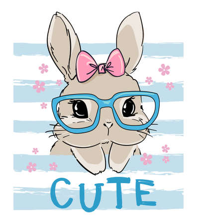 Cute rabbit in glasses. Print design for textiles, baby clothes, banner. Vector illustration